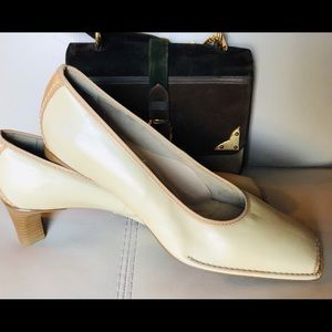 ARA $168 Leather Two Tone Square Toe Comfort Heels